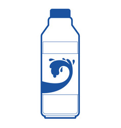 Milk bottle icon in blue silhouette vector