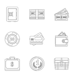 Monetary resource icons set outline style vector