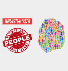 Nevis island map population people and corroded vector