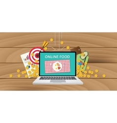 Online food business internet money gold growth vector