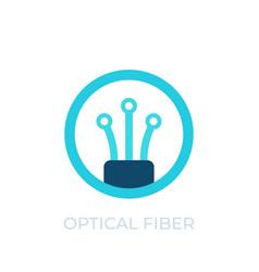 Optical fiber icon logo on white vector