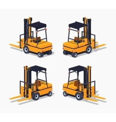Orange forklift truck vector