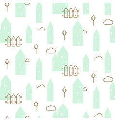 Pastel mint houses baby fabric seamless vector