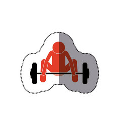 people man trying to lift weight icon vector image