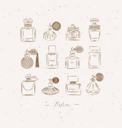 Perfume vintage bottles beige vector