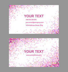 Pink colorful mosaic business card template set vector