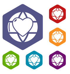 planet heart icons hexahedron vector image