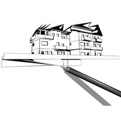 rapidograph drawing a house vector image
