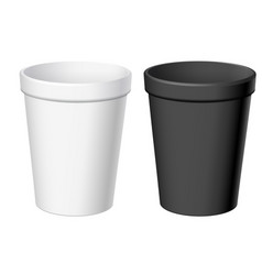 Realistic white and black disposable cups vector