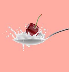 Red cherry and with milk splashing on spoon yogurt vector