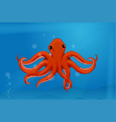 Red octopus in blue water colored drawing vector