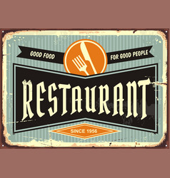Restaurant sign with knife and fork symbol vector