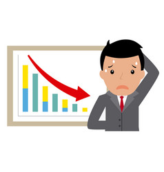 Sad businessman for bad results graph vector