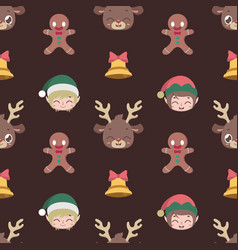 seamless pattern background with christmas vector image