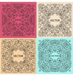 Set floral frame monogram design element vector image