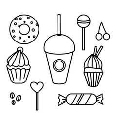 set hand drawn sweets bakery cafe vector image