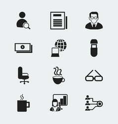 Set of 12 editable bureau icons includes symbols vector