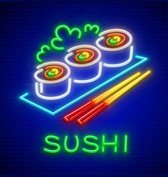 set sushi neon icon vector image