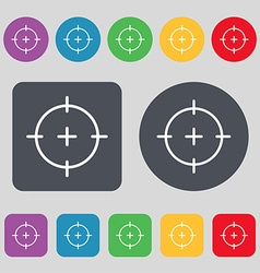 sight icon sign A set of 12 colored buttons Flat vector image