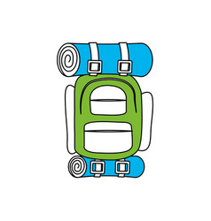 silhouette color section of camping backpack vector image