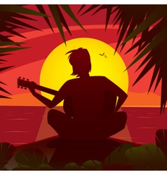 Silhouette of a romantic man playing the guitar at vector