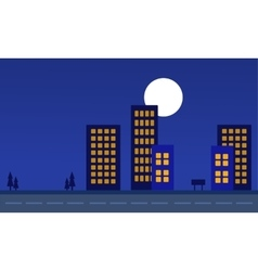 Silhouette of building at night landscape vector image