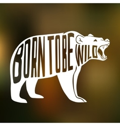 Silhouette of wild bear with text inside on blur vector
