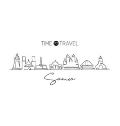 single continuous line drawing samoa skyline vector image