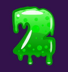 slime font type number 2 latin alphabet green vector image
