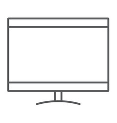 Smart tv thin line icon electronic and television vector