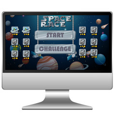 Space race mission game on computer screen vector