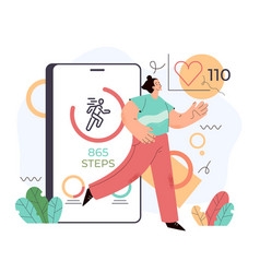 sport man using phone for counting steps vector image