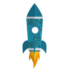 Startup rocket with circuit electronic isolated vector