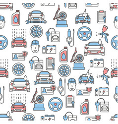 thin line art car service seamless pattern vector image