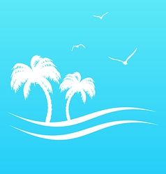 Tropical paradise background with palm trees vector