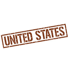 United states brown square stamp vector