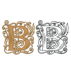Vintage initial letter b with baroque decoration vector