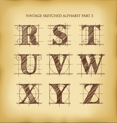 Vintage sketched alphabet set 3 vector image