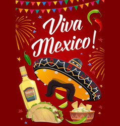 viva mexico banner with mexican food and sombrero vector image