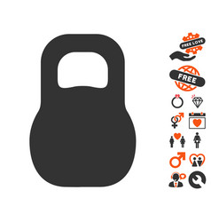 weight iron icon with love bonus vector image