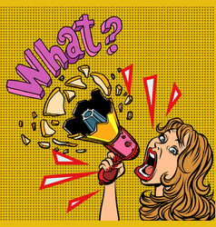 what woman with megaphone advertising vector image