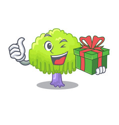 With gift green tree willow on the character vector