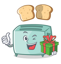 with gift toaster character cartoon style vector image