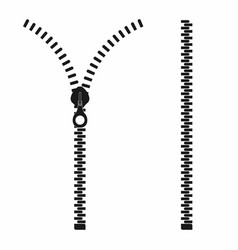 zipper open and closed zipper slide fastener vector image