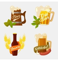 Beer in wooden and glassware mug with foam bottle vector image vector image