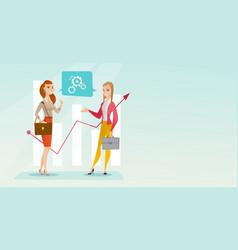Business women analyzing financial data vector
