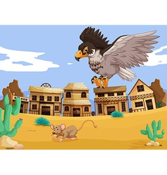Eagle catching rat in desert vector image vector image