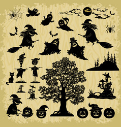 halloween objects and subjects silhouettes vector image