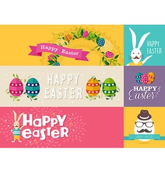 Happy Easter flat design banners set vector image