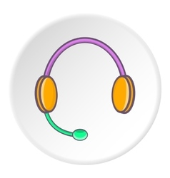 Headphones with microphone icon cartoon style vector image